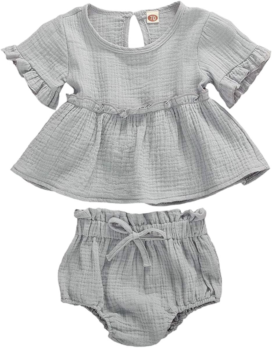 Baby Newborn Girls Summer Clothes Sleeveless Solid Color Ribbed Romper & Short Sets 2 Pieces Infant Vest Outfits