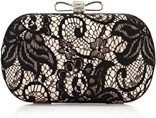 Satin Finished Black Lace Rhinestone Metal Bow Closure Clasp Fashion Clutch