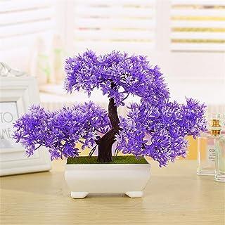 Snow Island - Cedro de bonsái artificial para decoración del hogar diseño de árbol de pino artificial color verde