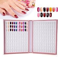 216 Colors Nail Art Display Stand, Nail Gel Colors Cards Nail Polish Show Diagram Book Nail Art Showing Shelf (Pink)