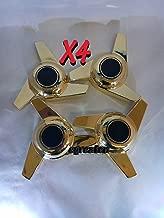 3 Bar Swing Metal Gold Spinner for Hub Cap for Cars Center Bolt Trucks, Set of 4