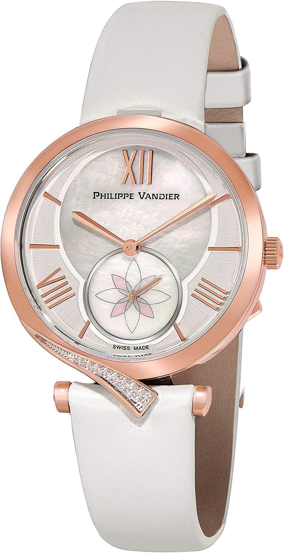 Philippe Vandier Reloj Mujer Swiss Made Amara Rouge Swarovski Movimiento Cuarzo Suizo Correa de Seda Satinada y Cristal Mineral Curvado de Alta Resistencia