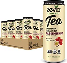 Zevia Organic Sugar Free Iced Tea, Caffeine Free Hibiscus Tea Passionfruit, 12 Ounces (Pack of 12) Passionfruit, Caffeine ...