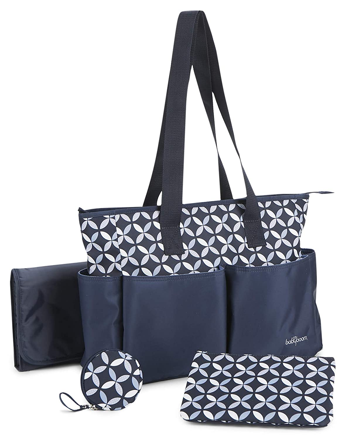Baby Boom Ivy 4Piece Tote Diaper Bag Set, Navy, One Size