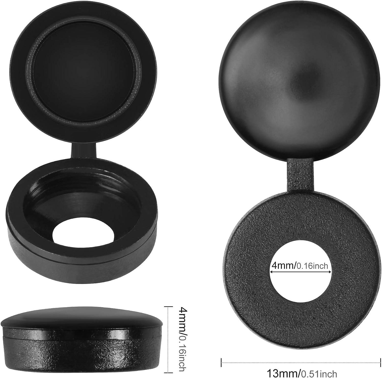 Cache-vis /à Charni/ère en Plastique Plier les Couvercles /à Vis Laveuse Flip Tops Noir et Blanc