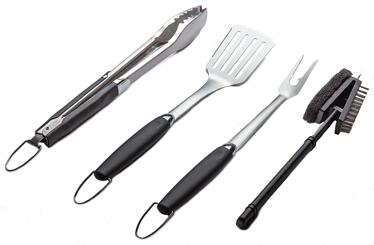 Simplistex - Heavy Duty - 4 Piece Stainless Steel Barbecue Grill Tool Set for Indoor/Outdoor Grilling