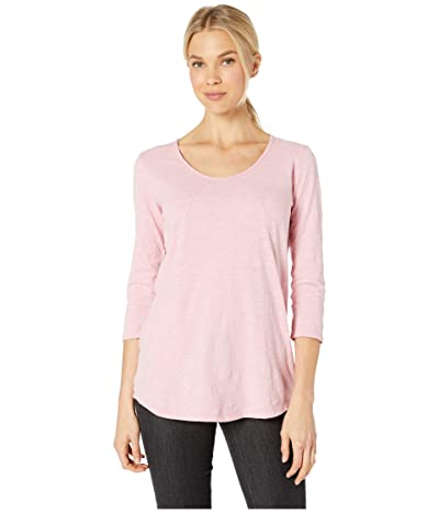 Mod-o-doc 3/4 Sleeve Tee with Diagonal Seams and Pockets in Slub Jersey (Dusty Pink) Women