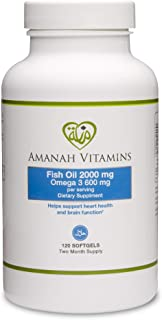 AMANAH VITAMINS Omega 3 Fish Oil 2000 mg - Halal Vitamins - 120 Softgels