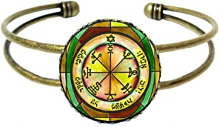 Solomons 7th Jupiter Seal for Power Against Poverty Gold Bronze Cuff Bracelet