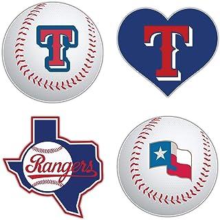 """skyhighprint Rangers Baseball - Texas Set of 4 Car Bumper Sticker Decal 5"""" Longer Side"""