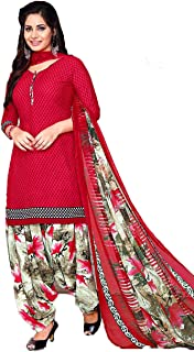 430ddd7fc8304 TryMode Women's French Crepe Salwar Suit Material with Dupatta  (TYM_1055_D_Red_Free Size)