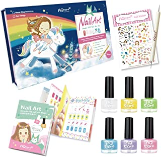 AQMORE Non Toxic Water Based Peel Off Nail Polish - 5 Colors + Topcoat, Dotting Tool, Nail Stickers, Nail Art Tutorial Booklet (0.20 fl oz/Bottle) (Dream in Color Gift Box Set 1)