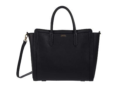 LAUREN Ralph Lauren Classic Pebble Tyler 34 Tote Medium (Black) Handbags