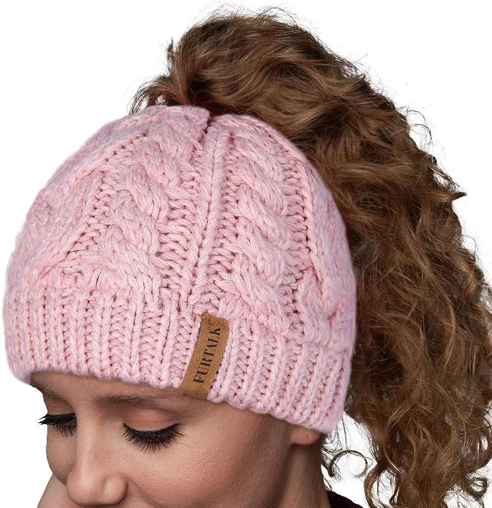 FURTALK Women Hat Knit Skull Beanie Winter Outdoor Runner Messy Bun Ponytail Cap
