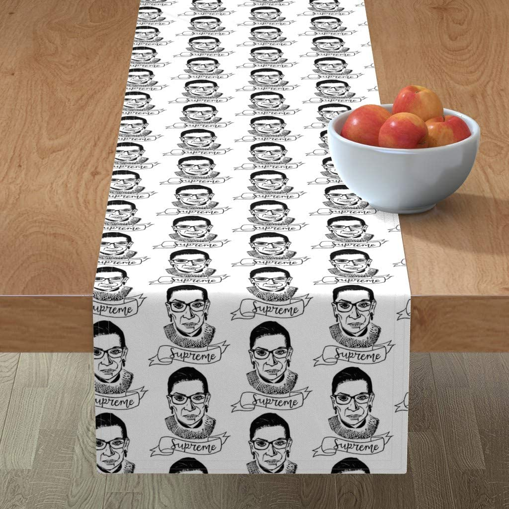Amazon Com Table Runner Supreme Ruth Bader Ginsburg Political Black And White Rbg Democrat By Allisonthemeep Cotton Sateen Table Runner 16 X 72 Home Kitchen