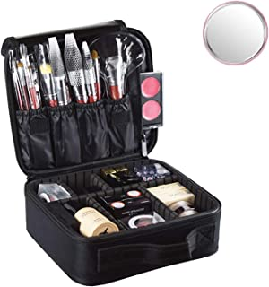 Travel Make up Train Case, Waterproof Portable Storage Comestic Case, Professional Makeup Organizer Bag with Adjustable Dividers, Accessories Tools Case Brush Pouch for Men Women Girls (Black)