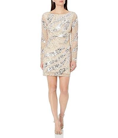 Adrianna Papell Long Sleeve Short Beaded Cocktail Dress