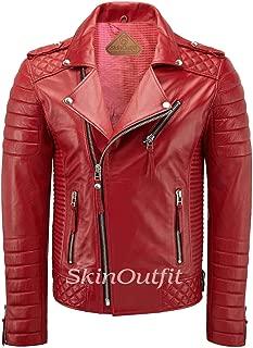 SKINOUTFIT Men's Leather Jackets Motorcycle Biker Genuine Lambskin Leather Jacket Red