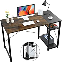 Foxemart Computer Desk with Shelves, 47 inch Office Desk with Grid Drawer, Industrial Study Desk Sturdy Table Modern Furni...