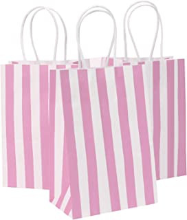 Road 5.25x3.25x8 Inches 50pcs Pink Stripes Kraft Paper Bags with Handle, Shopping Bag, Retail bag, Craft Paper Bag, Merchandise Bag, Gift Bag, Party Bag
