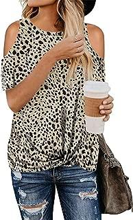 SZIVYSHI Short Sleeve Cut Out Cold Open Shoulder Leopard Tie Front T-Shirt Blouse Shirt Top