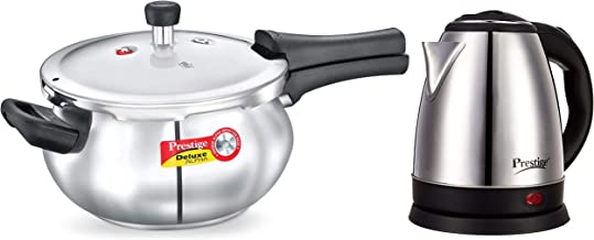 Prestige Deluxe Alpha Stainless Steel Junior Handi, 4.4 litres, Silver and Electric Kettle PKOSS - 1500watts, Steel (1.5Ltr), Black Combo