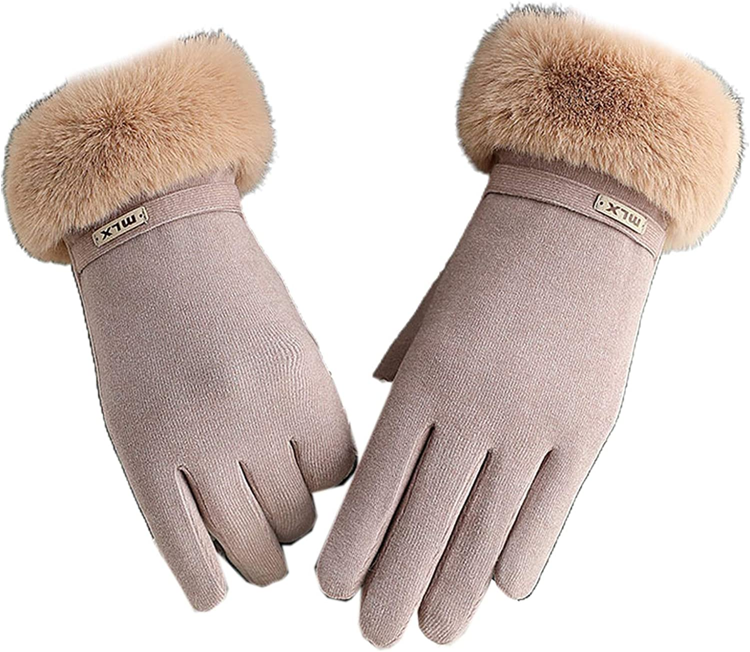 Women Winter Gloves Warm Thermal Full Finger Gloves Furry Cuff Plush Soft Lining Touchscreen Texting Mittens