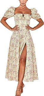 Chollius Women 's Long Dress Vintage Split Casual Floral Print Puff Sleeve Summer Fashion Lace-up Square Collar Split Long...