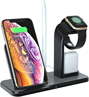 DENT 3 in 1 Wireless Charger Stand Station, Wooden, 10W Qi Fast Wireless Charging Dock Compatible for iPhone Apple Pencil/Watch Air Pods (Black)