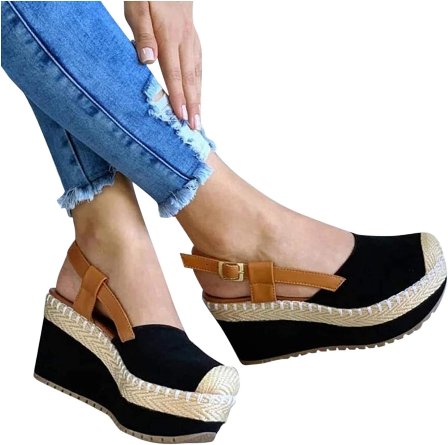 KHIIen Womens Espadrilles Wedge Sandals Buckle Strap Closed Charlotte Mall Toe specialty shop