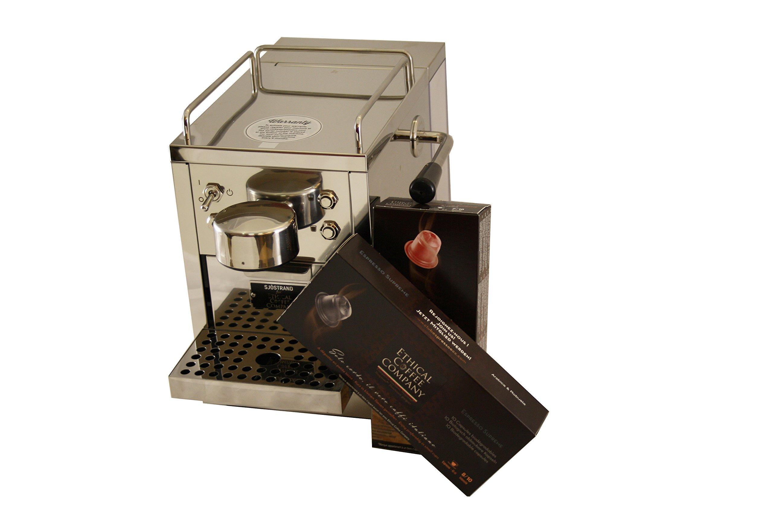 La Barista de Ethical Coffee - Cafetera de cápsulas compatibles. Acero Inoxidable (19 bares, depósito reserva 1,2l, modo café corto-largo, modo ecónomico de energía automático): Amazon.es: Hogar