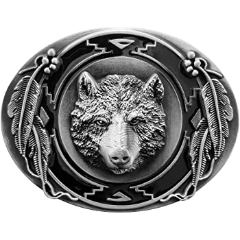 Cowboy Silver Red Howling Wolf Tactical Belt Buckle Coyote Cool Feather Men