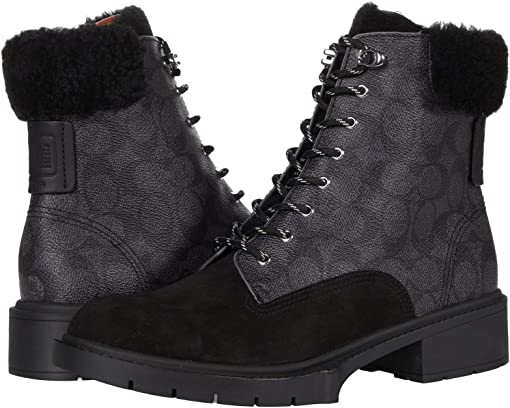 COACH Lorimer Coated Canvas Bootie,Black/Charcoal