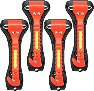 ONCHA Car Safety Hammer, 4 Pack Auto Emergency Escape Tool Car Window Glass Breaker and Seat Belt Cutter for Family Rescue...