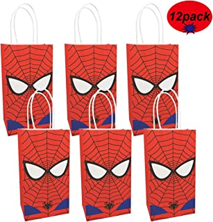 Spiderman Gift Bags Made of Paper for Kids Boys Superhero Themed Birthday Party Set of 12