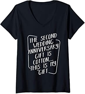 Womens The Second Wedding Anniversary Gift Is Cotton Funny Marriage V-Neck T-Shirt