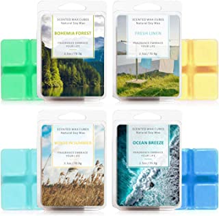 LA BELLEFÉE Scented Wax Cube 4 Packs Scented Wax Melts Natural Soy Wax Cube for Warmer(4x2.5oz,OceanBreeze, FreshLinen,...