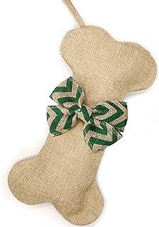 Malier New Linen Large Christmas Stocking for Dogs Cats Pets Jute Natural Burlap Dog Bone Shape