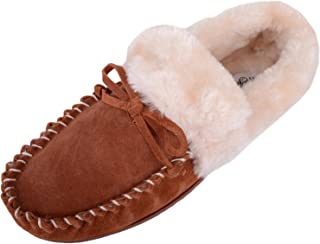 ABSOLUTE FOOTWEAR Womens Soft Real Leather Suede Moccasin/Slipper/Indoor Show with Fur Lining