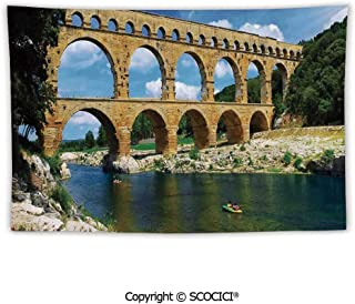 SCOCICI Tapestry Wall Hanging Ancient Roman Heritage Wall Southern France Architectural Historical Landmark Tapestry for Bedroom Dorm