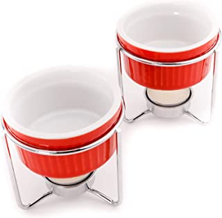 Crabaholik 2-Piece Ceramic Butter Warmers Set | Premium Quality Red Ceramic Fondue Warmers Pots | Melted Butter Melters wi...