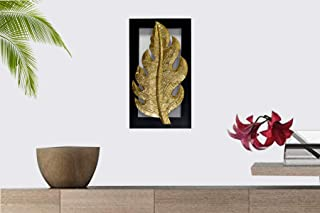 Sahil Wood Carving Golden Leaf Wall Art Hanging with Brass Top on Wood Pack of 1 (8 x 14-inch)