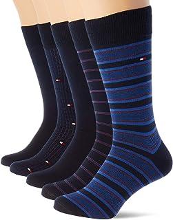 Tommy Hilfiger, Th Men Sock 5p Fine Stripe Tin Giftbox calcetines, azul marino oscuro, 39/42 (Pack de 5) para Hombre