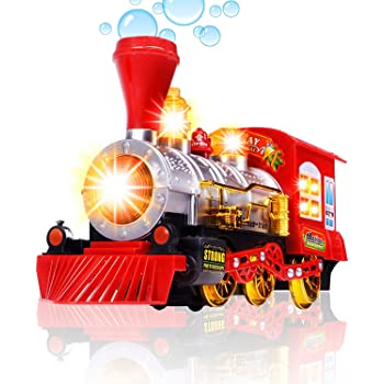 Magicwand® Bump & Go Bubble Throwing Train Engine with Colorful Lights , Sound & Music