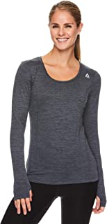 Reebok Women`s Long Sleeve Running T-Shirt - Dynamic Fitted Performance Gym & Workout Athletic Top