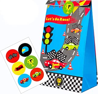 BeYumi 24 PCS Goodie Candy Treat Bag Race Car Inspired Party Favor Supplies, Let's Go Race Paper Boxes with Car Party Favor Stickers for Racecar Themed Party