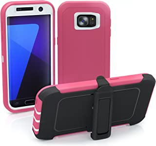 Galaxy S7 Edge Case, ToughBox [Armor Series] [Shock Proof] [Pink | White] for Samsung Galaxy S7 Edge Case [Built in Screen...