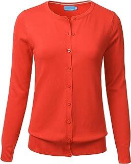 35fe944579 FLORIA Women s Button Down Crew Neck Long Sleeve Soft Knit Cardigan Sweater  ...