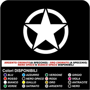 NERO OPACO Adesivo STELLA cm 35x35 stella militare 4X4