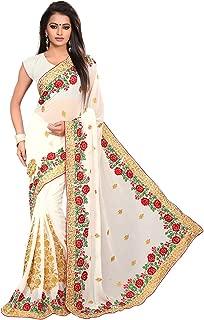 Saree for Women Indian Ethnic Sari in White Georgette